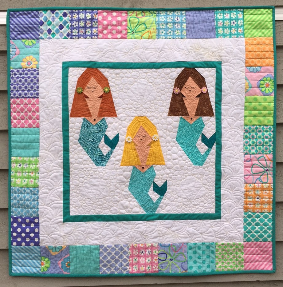 Mermaid Paper Pieced Quilt Made By Marney